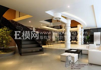 White modern hotel lobby 3D Model DownloadFree 3D Models