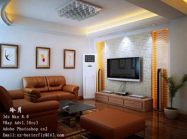 Modern style living room 3D model 3D Model DownloadFree