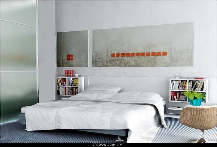 Simple Style Bedroom Design Pure White 3D Model Download