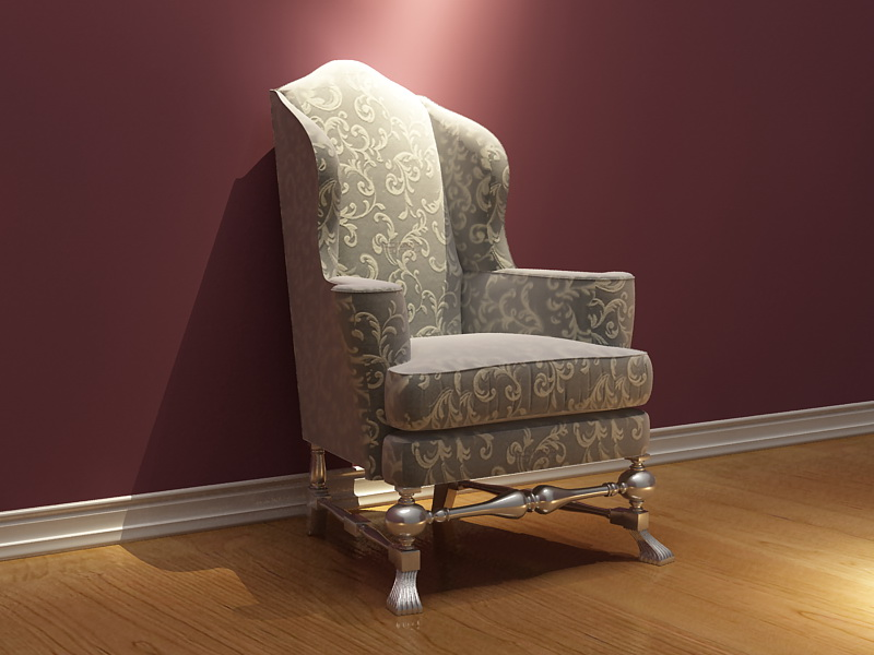 European golden chair 3D model of single patterns