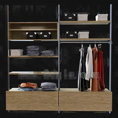 Metal stents wood drawers wardrobe 3D Model DownloadFree