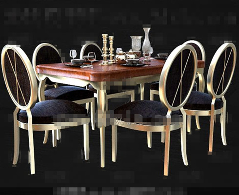 Comfortable modern wooden dining table 3D Model Download