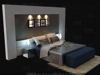 Elegant simple blue double bed 3D Model DownloadFree 3D