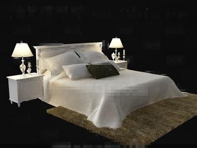 White comfortable double bed 3D model 3D Model DownloadFree 3D Models Download