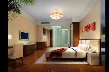 Modern hotelstyle comfortable bedroom 3D Model Download