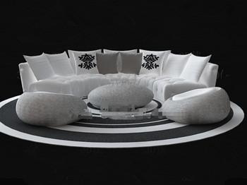 White circular sofa combination 3D Model DownloadFree 3D