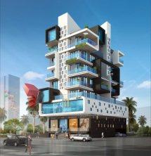 Apartment Building Architectural 3D Rendering