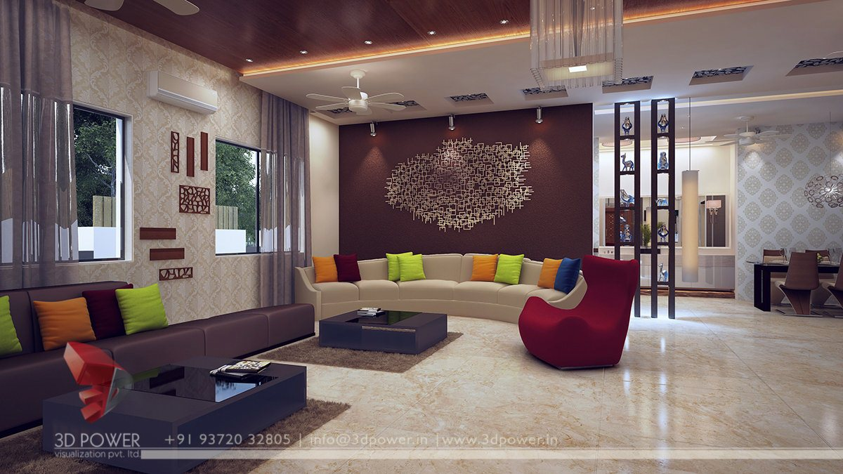 Modern Living Room Interior  Interior Design 3D Rendering