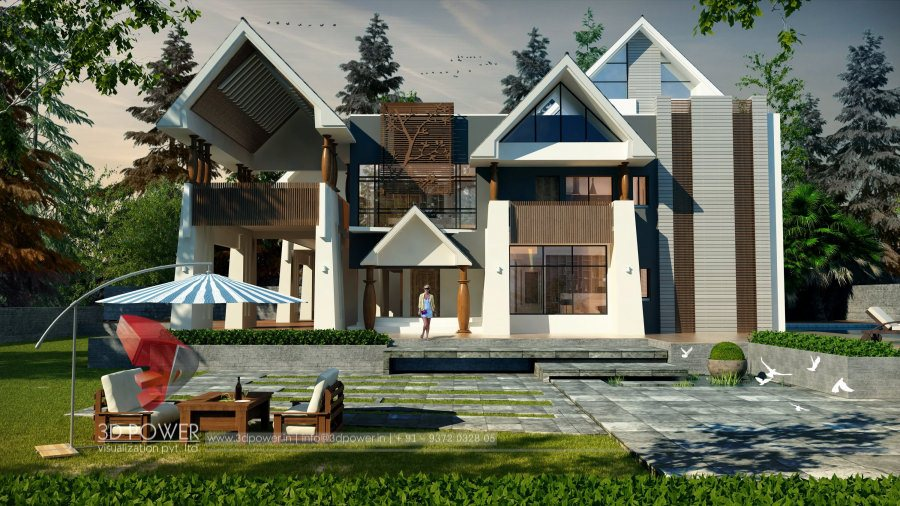 Bungalow Architecture Nashik 3D Power