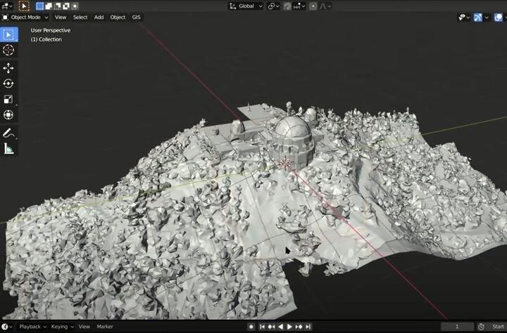 Corresponding 3D model in Blender based on Google Map data [Source: YouTube]