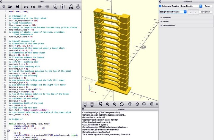 View of OpenSCAD code generating a temperature tower [Source: Fabbaloo]