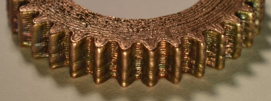 Copper gear 3D printed with metal filament [Source: The Virtual Foundry]