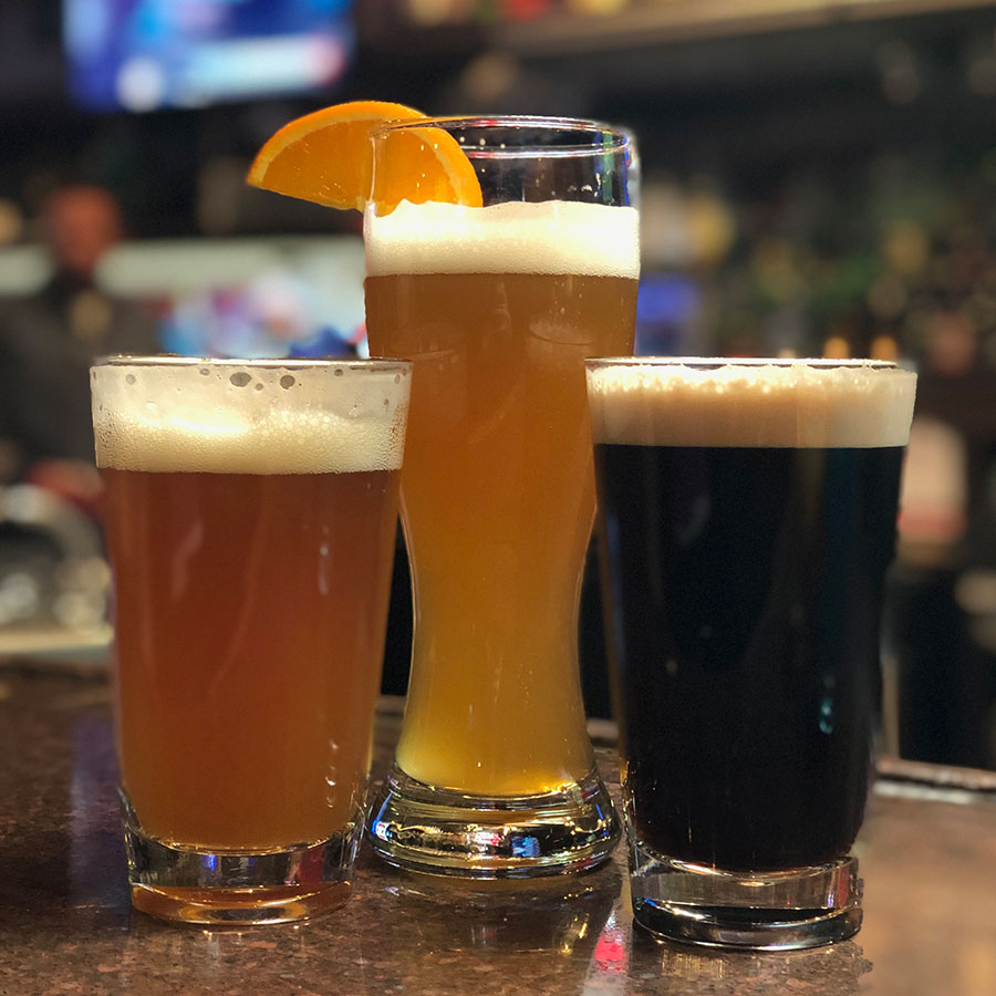 variety of beers on tap