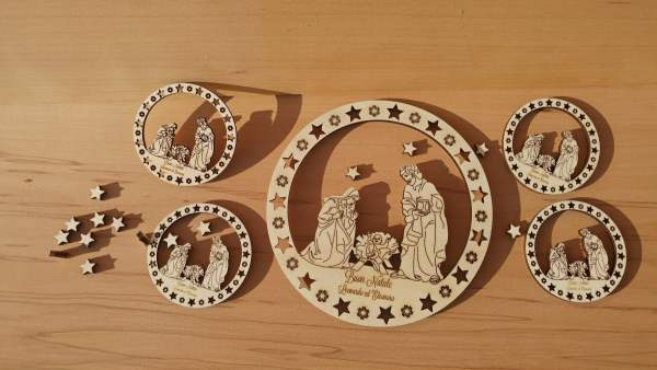Nativity laser wood cutted