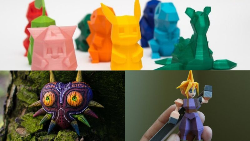 3D printed toy Pokémon, Majora's Mask, and PS1 Cloud Str