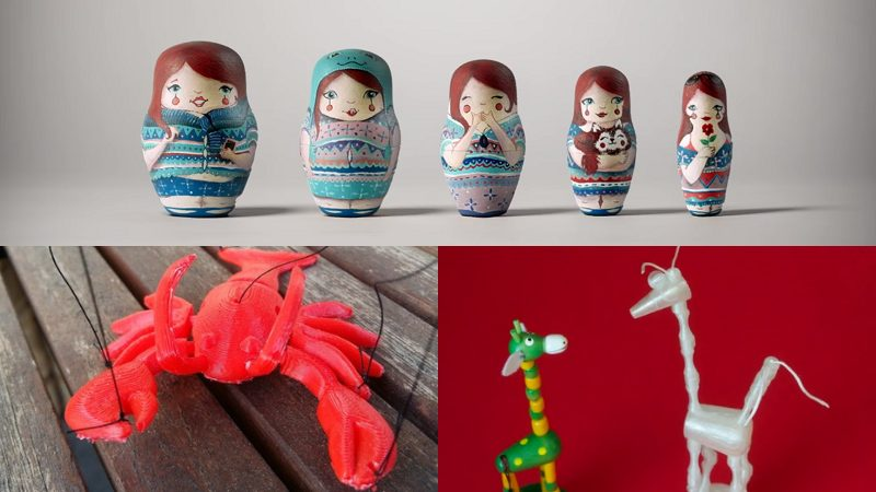 3D printed dolls, Russian nesting dolls, lobster marionette, collapsing puppets.