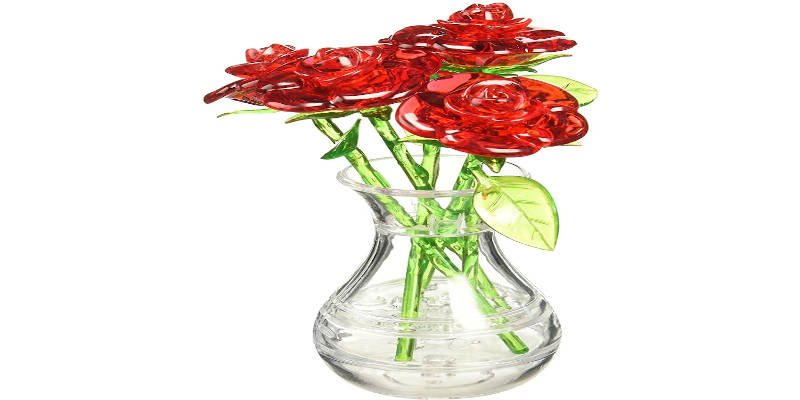 3D crystal Jigsaw Vase Red