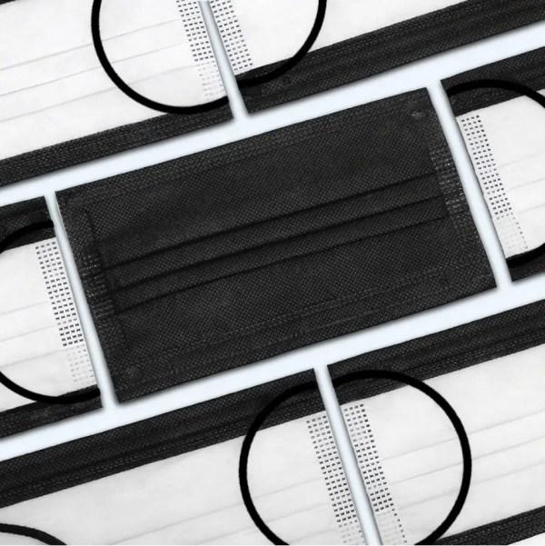Maska troslojna črna 10 kosov