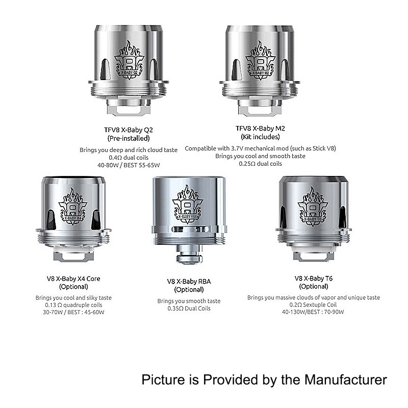 Authentic SMOKTech SMOK TFV8 X-Baby Q2 0.4ohm EU Dual Coil