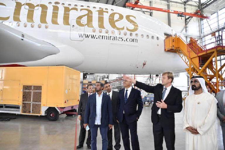 Dubai Ruler Tours Airbus Manufacturing Plant in Hamburg