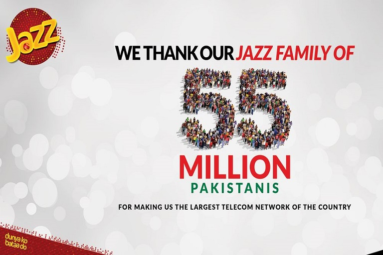 Jazz Reaches 55 Million Subscribers Across Pakistan