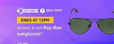 5c9c343293b So just give answer of 5 question and get chance to win Rayban Sunglasses.  So hurry up and grab this amazing Amazon Quiz Contest.