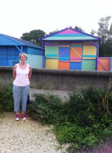 Sheila's sister Leslie and a trendy beach hut