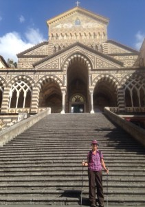 Sheila on the steps at Amalfi's cathedral