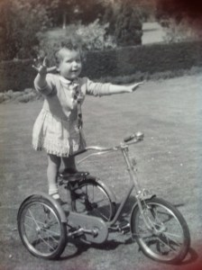 Sheila showing off on Leslie's trike
