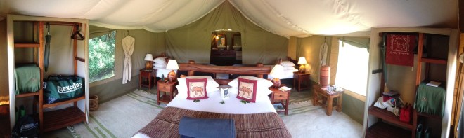 Inside a tent at Kicheche Camp