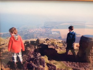Milo (still in nappies) and Oscar appreciating the view having both walked to the top of The Law