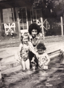 My mother with Leslie and I in my grandparents' pool