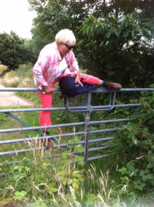 Irene climbing over locked gate