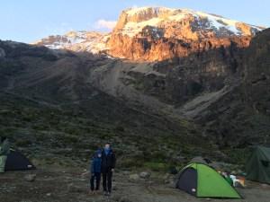 Sam and Ros camping on Kili