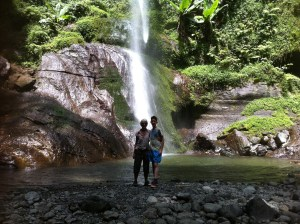 Sheila and Oscar at the waterfall