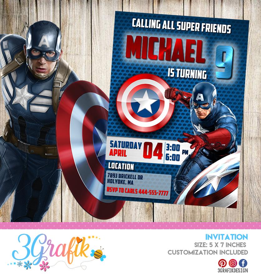 captain america invitation printable