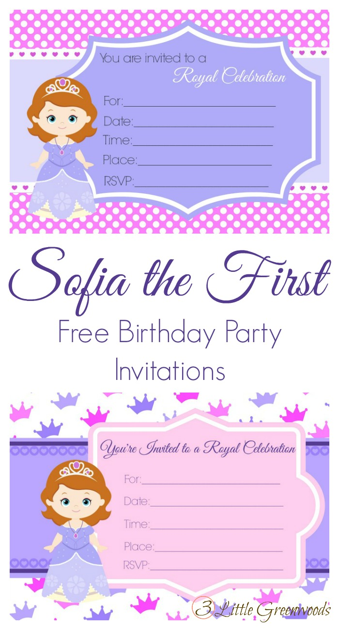 sofia the first birthday invites
