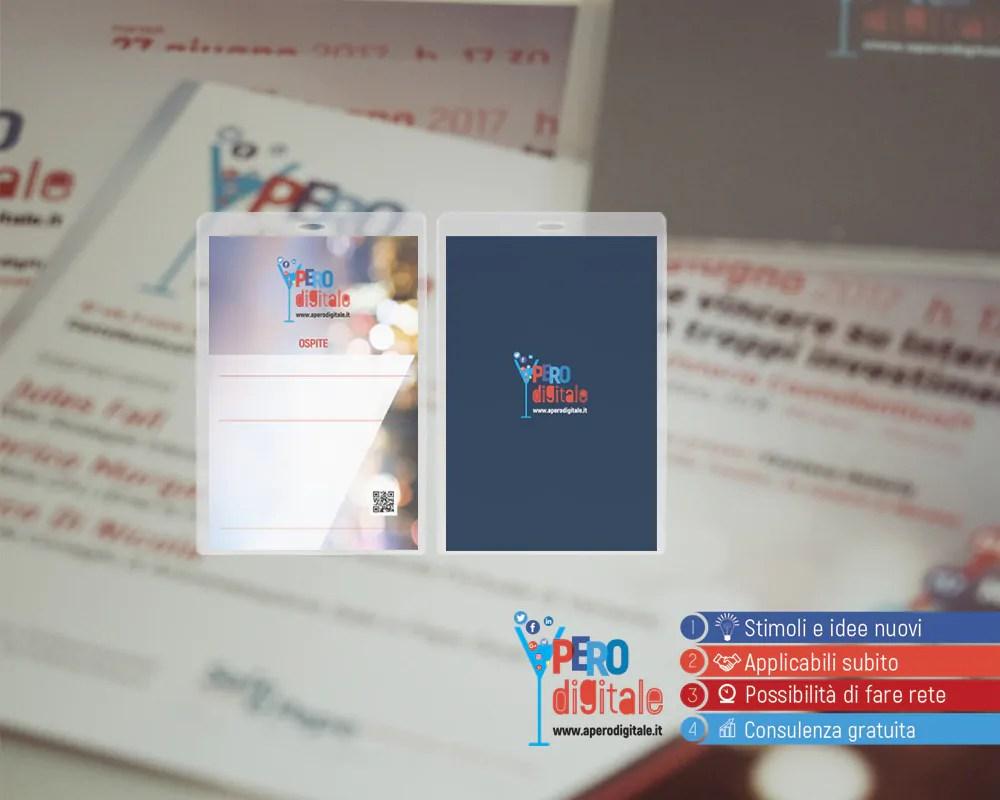 Comunicazione visiva Badge per Aperodigitale di Inter@com