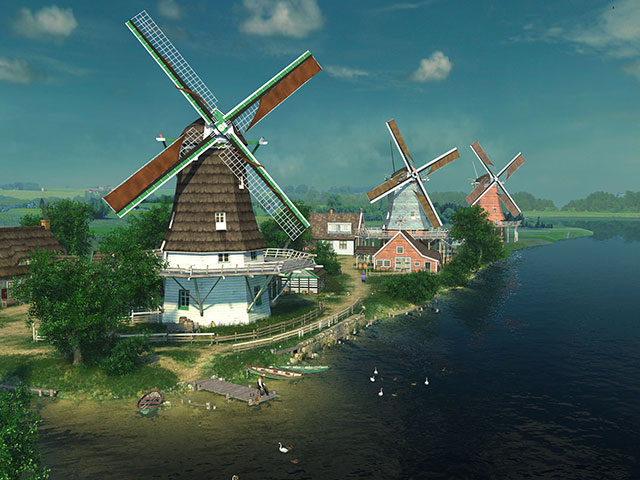 Thanksgiving Fall Wallpaper Nature 3d Screensavers Dutch Windmills Relax In A