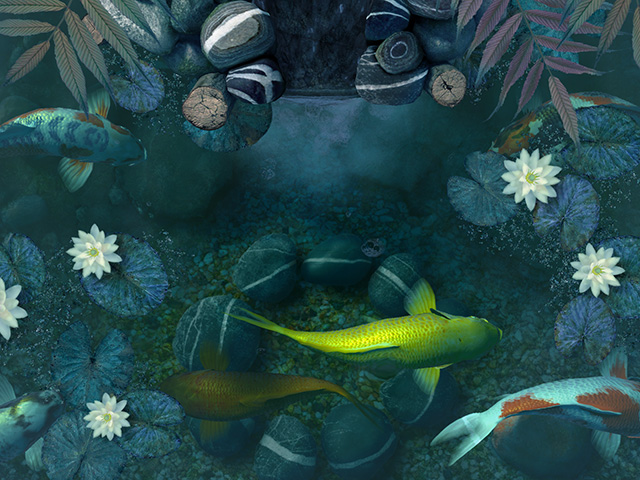 Fall Live Wallpapers For Windows 7 Fish 3d Screensavers Koi Pond Waterfall