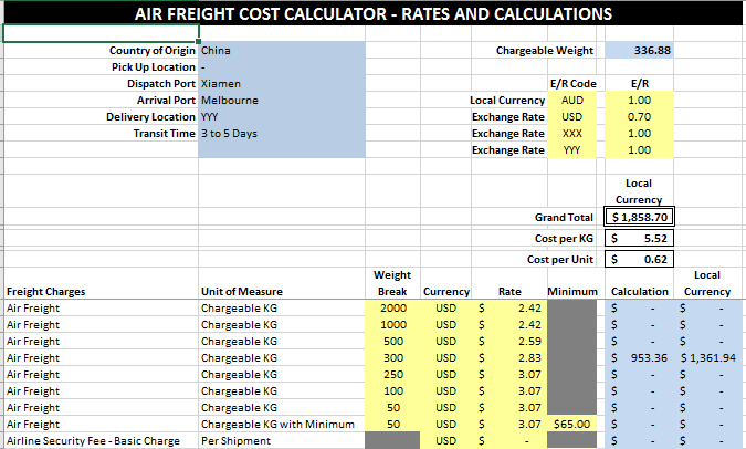 air freight cost calculator rates and calculations