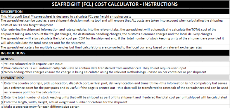 Sea Freight Cost Calculator