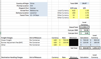 FC Sea Freight Cost Calculator