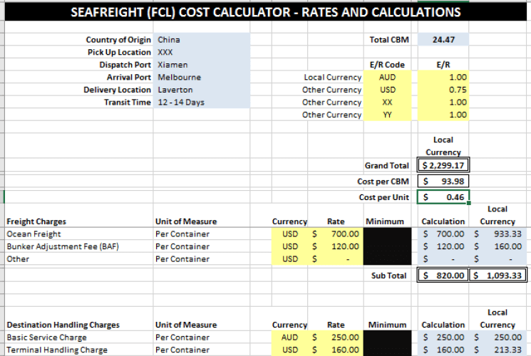 FC Sea Freight Cost Calculator