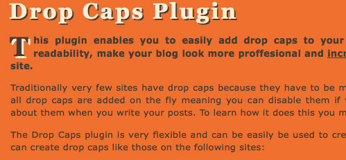 Drop Caps wp plugin preview