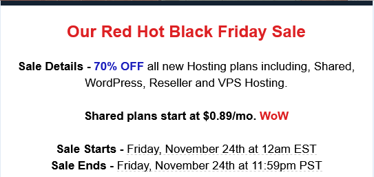 fast web host black Friday 2017 hosting deal