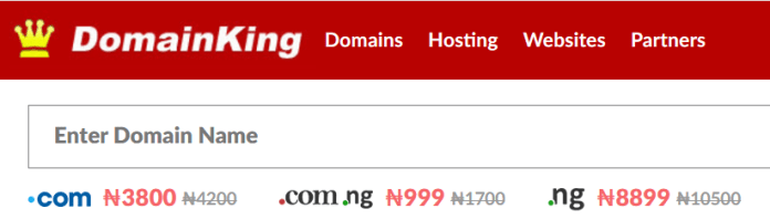 domainking Nigeria's domian name pricing table