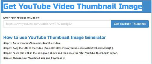 Get YouTube Video Thumbnail Image