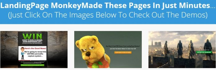 Landing page monkey features