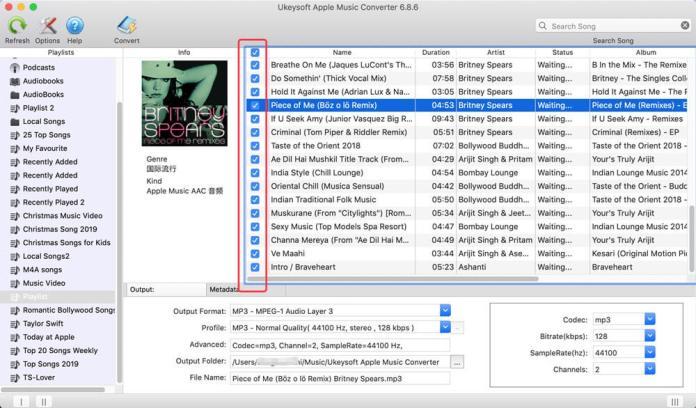 select the musics